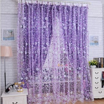 Print Floral Voile Door Sheer Window Curtains Room Curtain Divider 100X200CM Purple