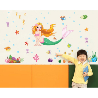 Harga Mermaid Fishes Sea Shark Squid Crab Wall Sticker Paper Home Decal Removable Wall Vinyl Living Room Bedroom PVC Art Picture Murals Waterproof DIY Stick for Adults Teens Childres Kids Nursery Baby