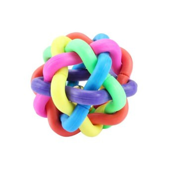 Harga Dog Puppy Cat Pet Knot Cotton Rope knotted Rubber Sound Ball Bell Chewing Toy-M