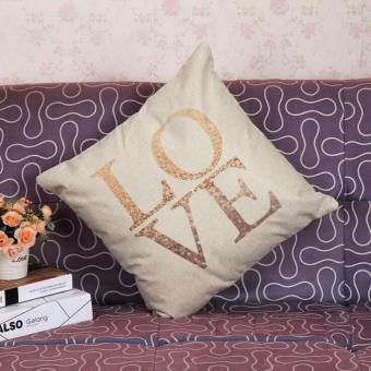 "Harga Fang Fang Lover Pillow Case Square 18"" Throw Decorative Cotton Linen (Love)"