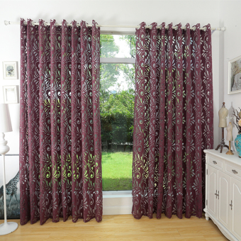 Multiple colors ready made semi-blackout curtains blind panel fabrics for window purple curtains plum