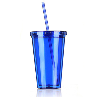 500mL Plastic Drinks Cup Liquid Beaker Lid + Straw for Party Iced Coffee Juice Blue