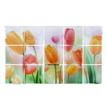 Harga Allwin Flower Pattern Aluminum Foil Sticker Oil Proof Kitchen Wall Paper Decal New Tulip(Single Layer)
