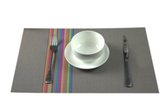 Harga Eozy Table Mats Insulation PVC Pads Dinner Placemats 45*30 Kitchen Coasters Set Of 4(Grey)