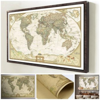 Harga Moonar Vintage antique poster World map wall sticker paper for home decor - intl