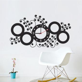Harga Yika Flower Rattan Circle Clock Wall Sticker - intl