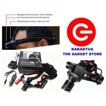 Harga Police headlamp - senter kepala - sinar cahaya led putih - head lamp - zoom tarik mundur - headlight - head light - Hitam