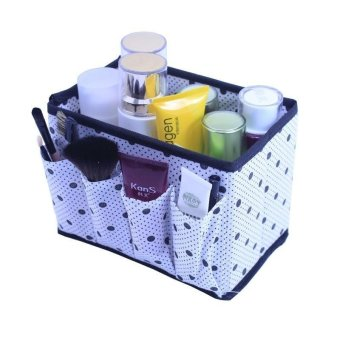 Harga High Quality Store New Non-woven Foldable Make Up Home Organizer Cosmetic Makeup Storage Box Desk Organizers