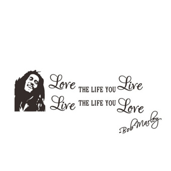 Harga Love The Life You Live Bob Marley Vinyl Wall Sticker Decor Diy Black Words English