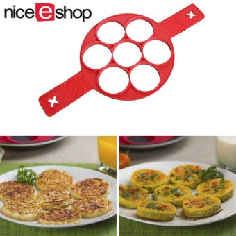 Harga niceEshop Pancakes Eggs Fixator Cooking Tool Molds Silicone Nonstick Cake Maker Egg Ring Moulds, Red - intl