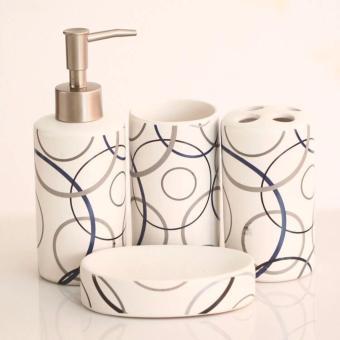 Harga DT Shop - BathroomSet Keramik Motif BubbleBola - 1Set 4 pc.