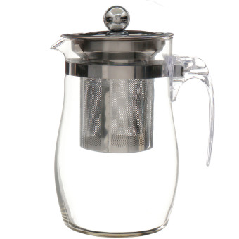 Harga 750mL Heat-resisting Clear Glass Teapot Stainless Steel Infuser Flower Tea Pot - intl