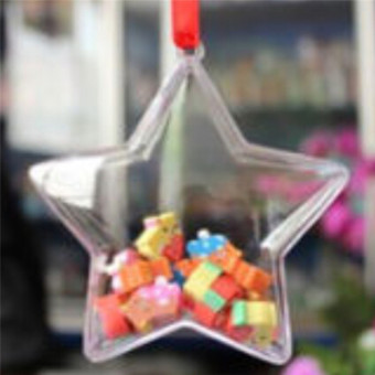 Harga Hanyu 75mm 5pcs Christmas Balls Stars Clear Plastic Fillable Ball Ornament - intl