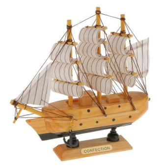 Harga BolehDeals Sailboat Decoration Mediterranean Decoration Handcraft Real Wooden Ship - intl