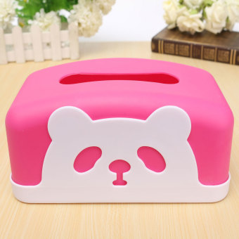 Cute Round And Square Panda Tissue Box For Home Office Car Napkin Box Holder - intl