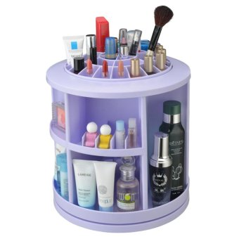 Harga Makeup Organizer Large Capacity 360°rotating Acrylic Cosmetics Storage Box Revolving Makeup Organizer Cosmetics Storage Case Blue