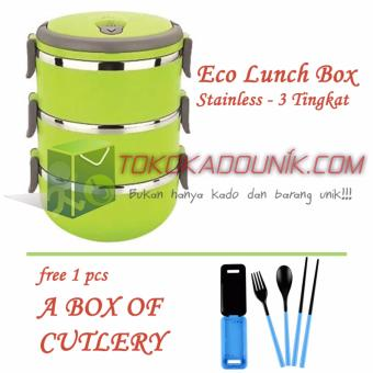 Harga Eco Lunch Box Stainless Hijau Free A Box Of Cutlery