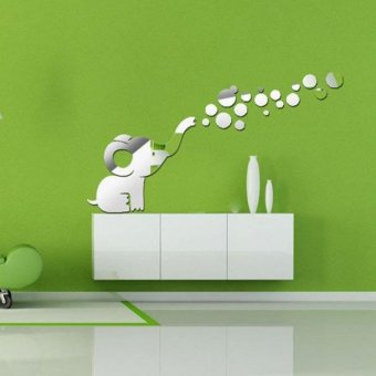 Harga coconie Fashion Elephant Blowing Bubbles DIY Mirrors Wall Sticker Home Decoration - intl