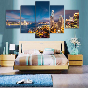 Modern City Painting 5 Panels Home Decor Wall Art Painting Prints Of Artwork Painting on the wall Modular picture Art Picture (No Frame) - intl