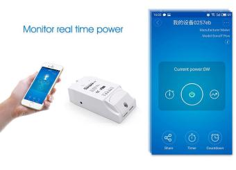 Sonoff ITEAD 16A Power Measuring Monitor Wifi Smart Home Automation Switch Control - intl