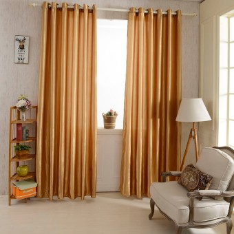 2PCS 1M*2.5M Grommet Blackout Curtain Linings Panel Solid Bright Colored Window Curtains (Coffee)