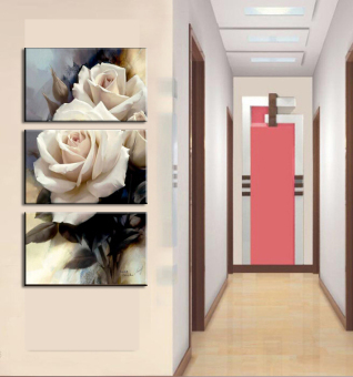 3 Panels Rose flower Modern Painting Painting On Canvas Wall Art Modern Living Room Wall Home Decoration(No Frame)