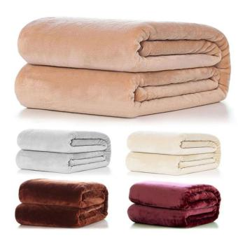 Harga Super Soft Warm Solid Warm Micro Plush Fleece Blanket Throw Rug Sofa Bedding 50*70cm - intl