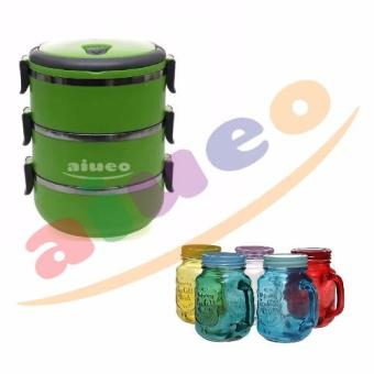 Angel Eco Lunch Box Stainless Steel Rantang 4 Susun Hijau Source · Harga AIUEO Eco Lunch