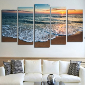 Wall Decor Arts Gift HD Pictures On The Wall Sea Beach Landscape Posters Canvas Paintings Home Decoration 5 Panel No Frame - Intl