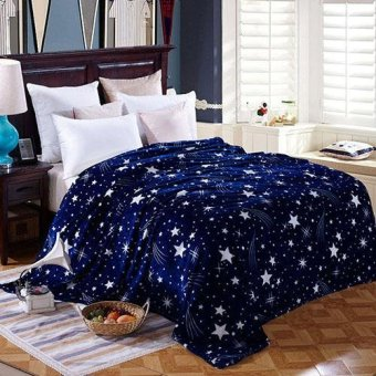 Harga Sanwood Flannel Fabric Bed Sofa Super Soft Bedclothes Caroset Bedding Article Blanket Twin (Blue) - intl