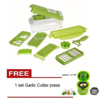 Harga Glow shop - Nicer Dicer Set Pemotong - High Quality Grade A - Hijau + FREE 1 set Garlic Cutter Press