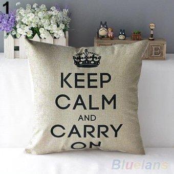 Harga Retro Home Decorative Linen Cotton Blended Crown Throw Pillow Case - intl