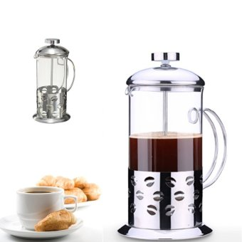 Harga Stainless Steel Glass Cafetiere Teapot Pot Filter Coffee Tea Press Plunger 350ml (Intl)