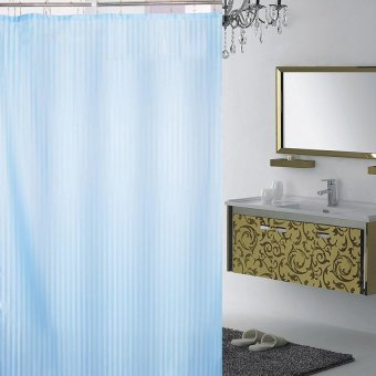 Harga Yika 180*180cm Waterproof Stripe Fabric Shower Curtain (Blue)