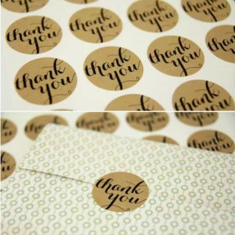 Harga 12X 'Thank You' Packaging Paper Sticker Labels Seal Wedding Gift Cupcake Party - intl
