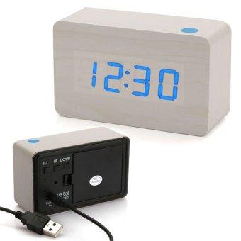Jual Biru jam alarm digital termometer untuk memimpin kantor mendekorasi rumah kayu putih