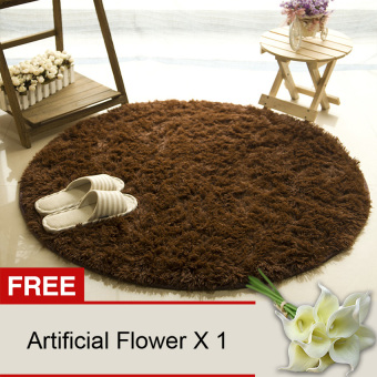 Harga Yika Round Shaggy Rug 80CM (Coffee) [Buy 1 Get Freebie]
