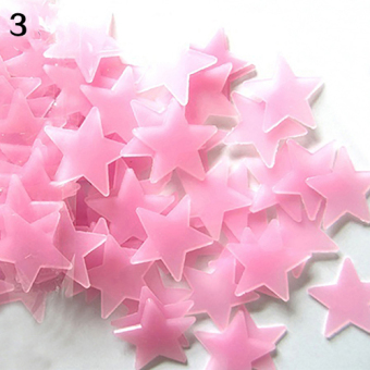 Bluelans 3D Glow in the Dark Stars Ceiling Wall Stickers 3.8cm (Pink) - intl