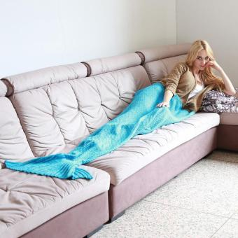 Harga Ai Home Adult Knitted Mermaid Tail Blanket Knitted Warm Bed Sofa Blanket Gift 1# (Blue)