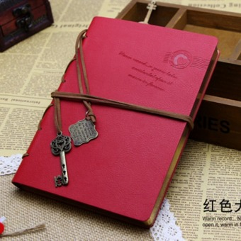 LALANG Retro String Key Blank Diary Notebook Journal Sketchbook Red