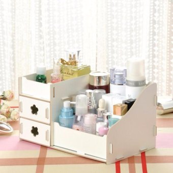 Harga Office Wooden Storage Box Makeup Organizer (White) - intl