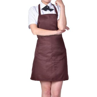 Harga 100% Cotton Professional Bib Chef Apron Coffee