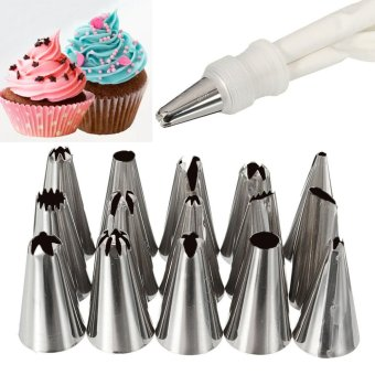 Harga 16Pcs Icing Piping Cake Cupcake Decorating Cotton Bag & Nozzles Sugarcraft Tool - intl