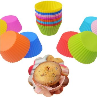 Harga 6pcs Round Soft Silicone Cake Muffin Chocolate Cupcake Liner Baking Cup Mold Light blue - intl