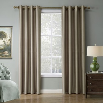 Modern Solid color khaki Blackout Curtain Window Curtains for Living Room 140cmx240cm - intl