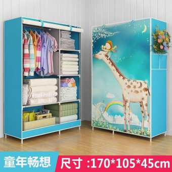 Harga One Piece Roll Up Curtain Clothes Design Wardrobe Home Furniture (style: Bear, Color: Blue) - intl