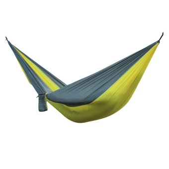 Harga Good Quality Portable Nylon Double Hammock Camping Sleeping Gear Outdoor Recreation Hiking(Yellow with gray border)