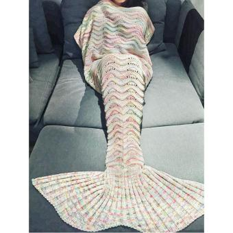 Harga Hollow Ripple Wearable Wool Knit Mermaid Blanket Air Conditioner Sofa Cover Blanket - intl