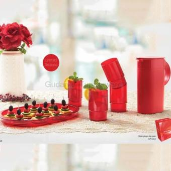 Harga Tupperware Classy Red-Pitcher-Tumbler and Tray