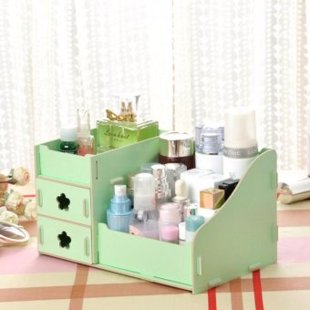 Harga Office Wooden Storage Box Makeup Organizer (Green) - intl